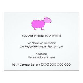 Ovejas rosadas invitación 10,8 x 13,9 cm