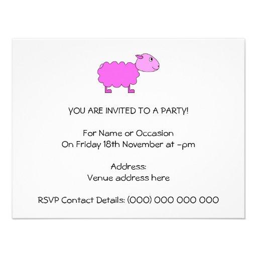 Ovejas rosadas invitaciones personales