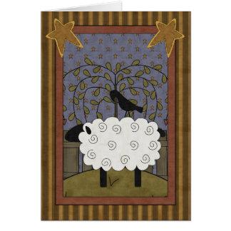 Ovejas y cuervo dulces del aniversario tarjeta