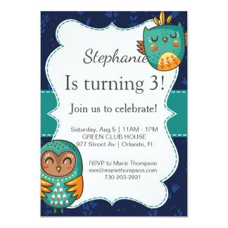 Owl birthday invitation girl invite boy cute kid invitación 12,7 x 17,8 cm