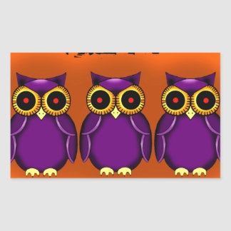 Owls Halloween Pegatina Rectangular