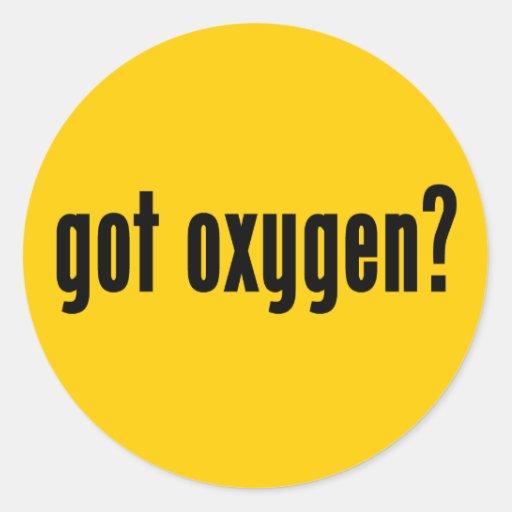 ¿oxígeno conseguido? pegatina redonda