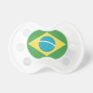 Pacificador brasileño del bebé de la bandera chupetes