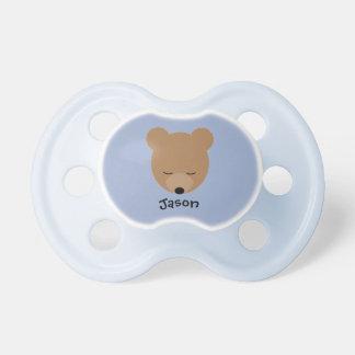 Pacificador del bebé del oso con nombre chupete