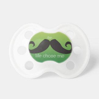 Pacificador del bigote para el bebé (verde) chupetes