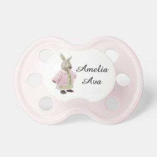 """Pacificador rosado lindo de """"Amelia"""" del conejo Chupetes De Bebe"""