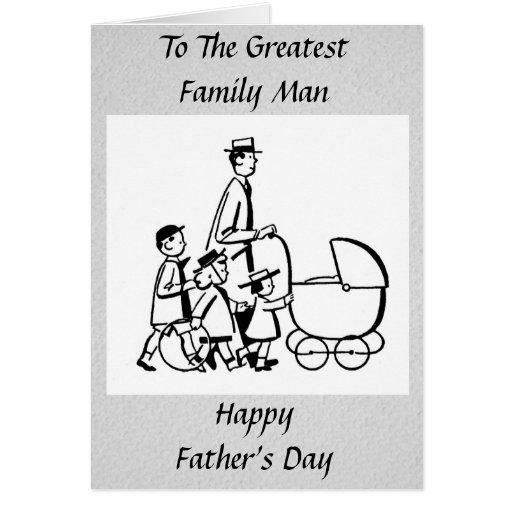 Padre de familia retro del día de padre tarjetas