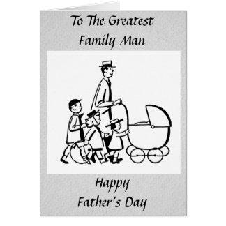 Padre de familia retro del día de padre tarjeta de felicitación