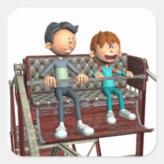 Padre e hijo del dibujo animado en una noria pegatina cuadrada