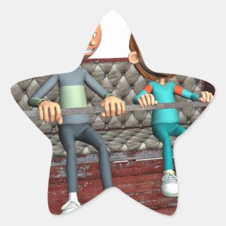 Padre e hijo del dibujo animado en una noria pegatina en forma de estrella