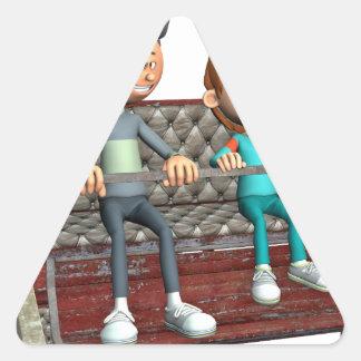 Padre e hijo del dibujo animado en una noria pegatina triangular