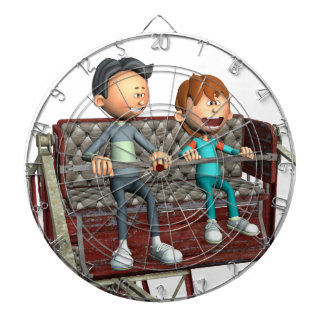 Padre e hijo del dibujo animado en una noria tablero de dardos