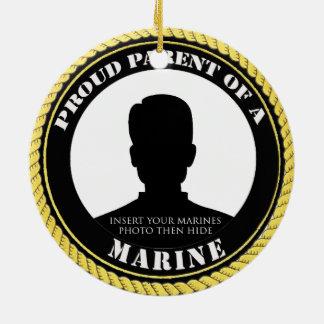 Padre marino orgulloso adorno navideño redondo de cerámica