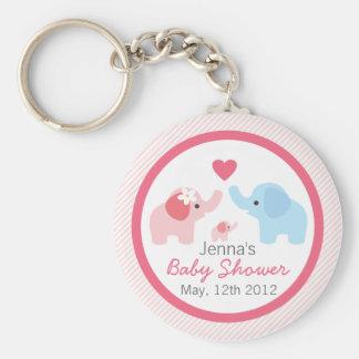 Padres y fiesta de bienvenida al bebé del elefante llavero