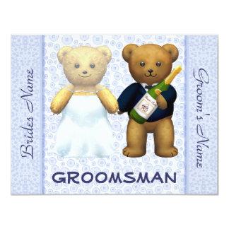 Padrino de boda - el boda azul de los osos de invitación 10,8 x 13,9 cm