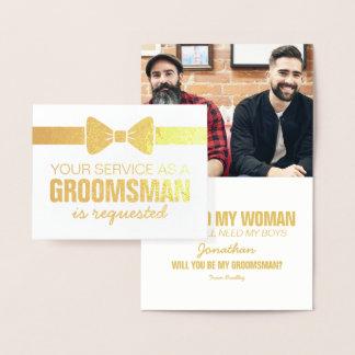Padrino de boda personalizado de la foto el | de tarjeta con relieve metalizado