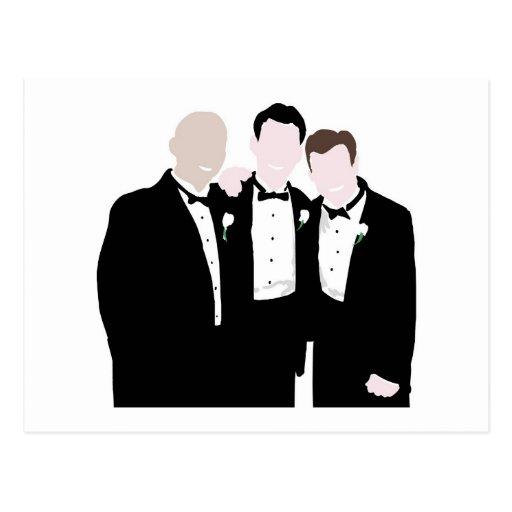 Padrinos de boda en la actitud del lazo negro para tarjeta postal