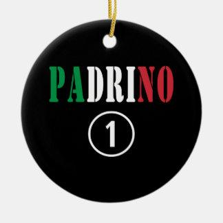 Padrinos italianos: Uno de Padrino Numero Adorno Redondo De Cerámica