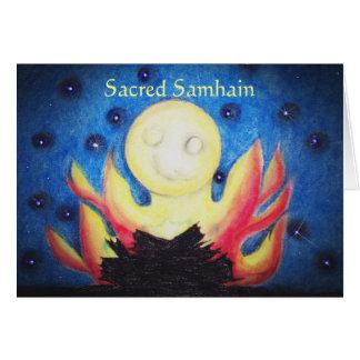 Pagan de Wiccan de la bruja del poema de Samhain Tarjeta