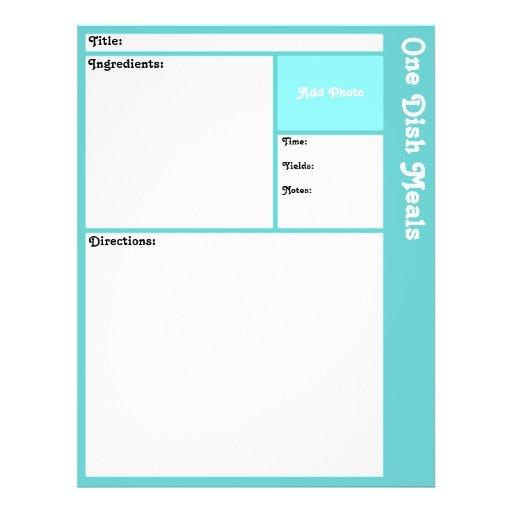 Página de la receta (aguamarina ligera) tarjetas publicitarias