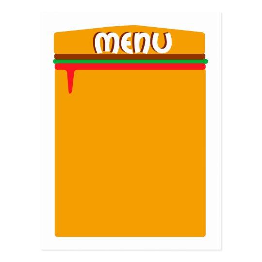 página del menú de la hamburguesa postal
