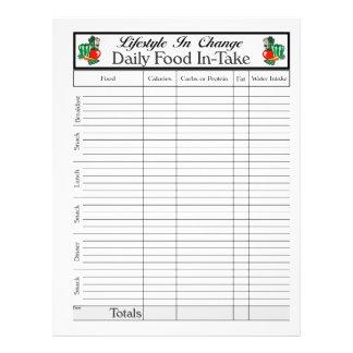 Página diaria de la toma de comida, para el cambio tarjetones