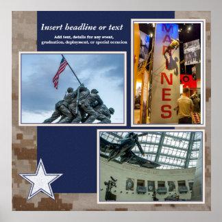 Página militar del collage del libro de recuerdos póster
