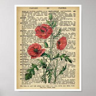 Página roja del vintage del poster de la impresión