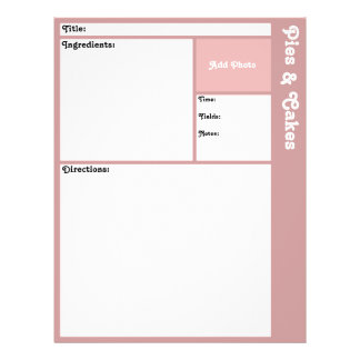 Páginas de la receta (de color de malva) folleto 21,6 x 28 cm
