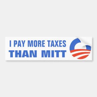 Pago a más impuestos que el mitón Obama el 2012 47 Pegatina Para Coche