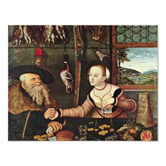 Pago (los suegros) por Cranach D. Ä. Lucas (mejor Invitación 10,8 X 13,9 Cm