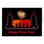 Pagodas chinas felices del año de VietnameseNew de Felicitacion