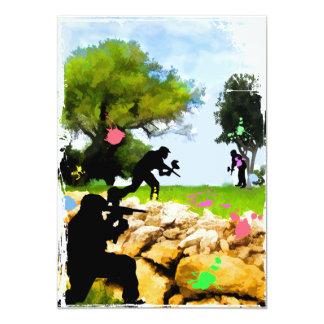Paintball en la primavera invitación 12,7 x 17,8 cm