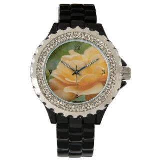 Painterly color de rosa anaranjado reloj de pulsera