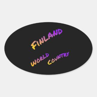 País del mundo de Finlandia, arte colorido del Pegatina Ovalada