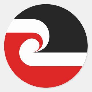 país étnico maorí de Nueva Zelanda de la bandera Etiquetas Redondas