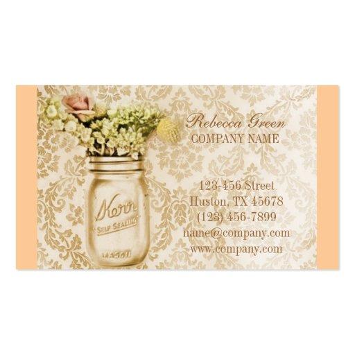 país floral elegante del tarro de albañil del dama tarjetas de visita