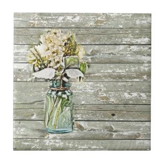 País francés de madera del granero del wildflower azulejo