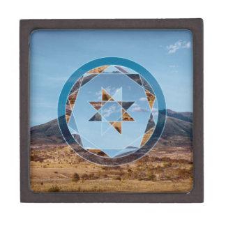 Paisaje abstracto con formas geométricas caja de regalo