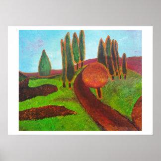 Paisaje abstracto con los árboles póster