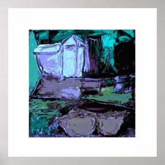 Paisaje abstracto en azules y púrpuras póster
