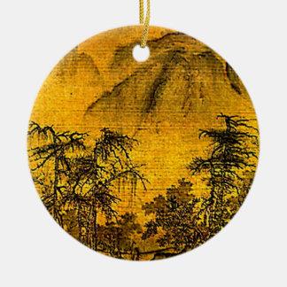 Paisaje antiguo adorno redondo de cerámica