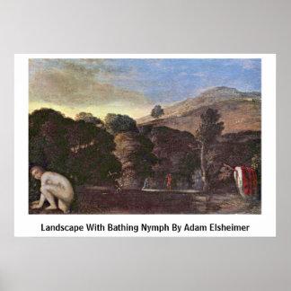 Paisaje con el baño de la ninfa de Adam Elsheimer Poster