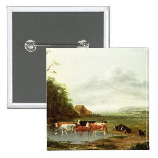 Paisaje con un ganadero y el ganado (aceite en can pin
