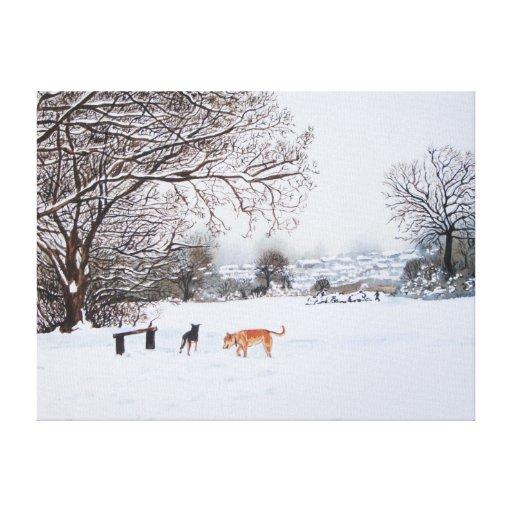 paisaje de la escena de la nieve con los árboles y impresión de lienzo