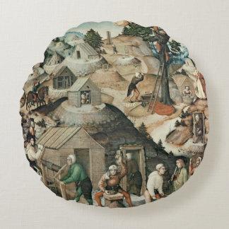 Paisaje de la explotación minera, 1521 cojín redondo