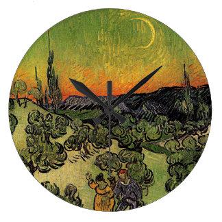 """Reloj Redondo Grande Paisaje de Van Gogh el """"con el reloj que camina de"""