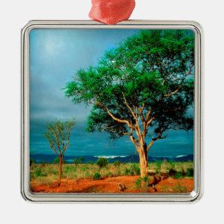 Paisaje del africano del árbol ornamento para arbol de navidad