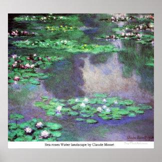 Paisaje del agua de rosas del mar de Claude Monet Póster