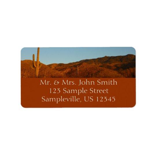 Paisaje del desierto de la puesta del sol I Etiquetas De Dirección